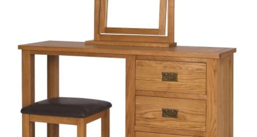 Rustic Saxon Oak Dressing Table Set Furniture