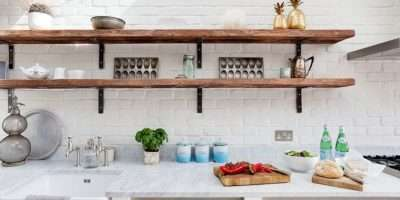 Rustic White Kitchen Slim Open Shelves