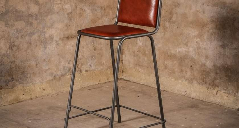 Rusticus Vintage Leather Metal Acre Bar Stool
