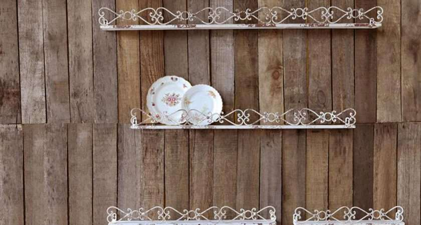 Rusty Cream Iron Metal Wall Shelves Plate Spice Rack Set