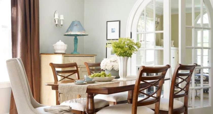 Sage Green Dining Room Traditional French Doors Wall