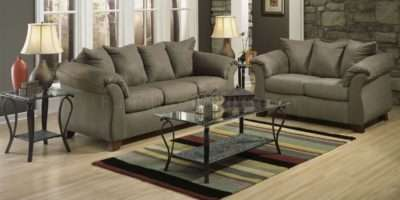 Sage Microfiber Elegant Modern Sofa Loveseat Set Options Afs