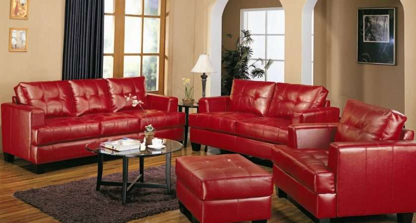 Samuel Red Leather Pcs Living Room Set Sofa Loveseat Chair