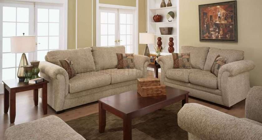 Sand Fabric Casual Living Room Sofa Loveseat Set Rolled Arms Afs