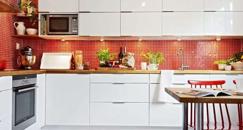 Scandinavian Kitchen Style Design Red White Mosaic Tiles