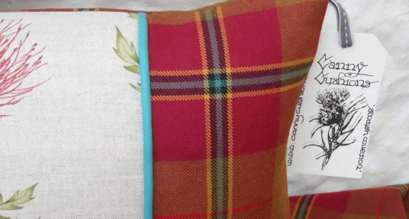 Scottish Red Thistle Tartan Cushion Cover