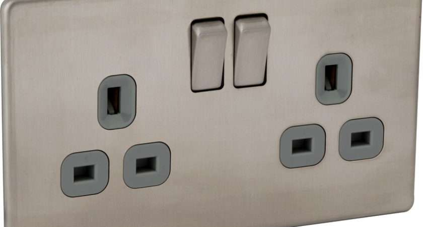 Screwless Flat Plate Brushed Stainless Steel Switch
