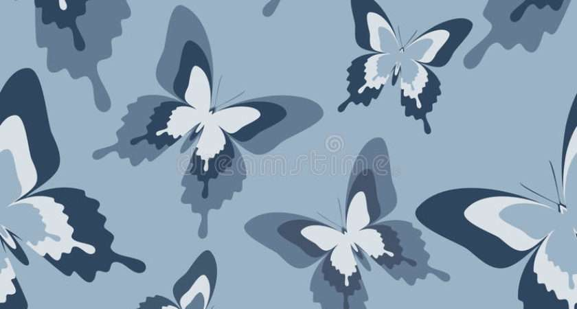 Seamless Pattern Black White Grey Butterflies