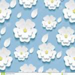 Seamless Pattern White Sakura Vector