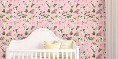 Self Adhesive Pink Floral Pattern Contemporary Wall
