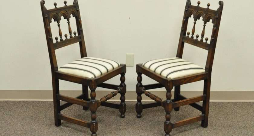 Set Eight Solid Carved Oak Jacobean Gothic