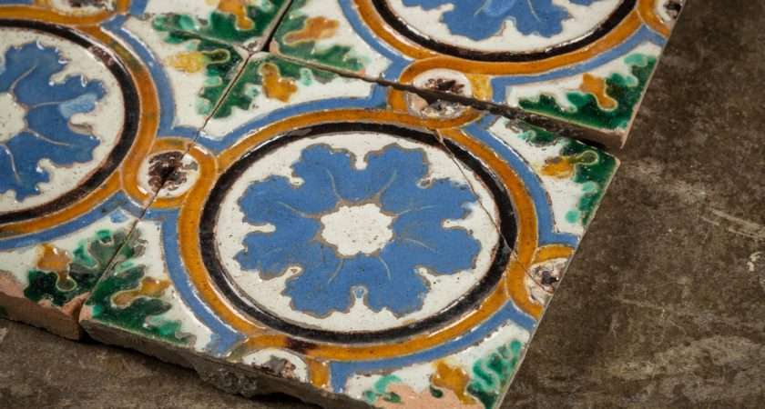 Set Floral Hand Painted Tiles