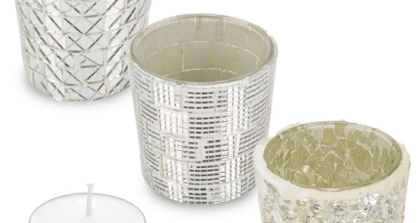 Set Glass Candle Tealight Holder Cracked Mosaic Table