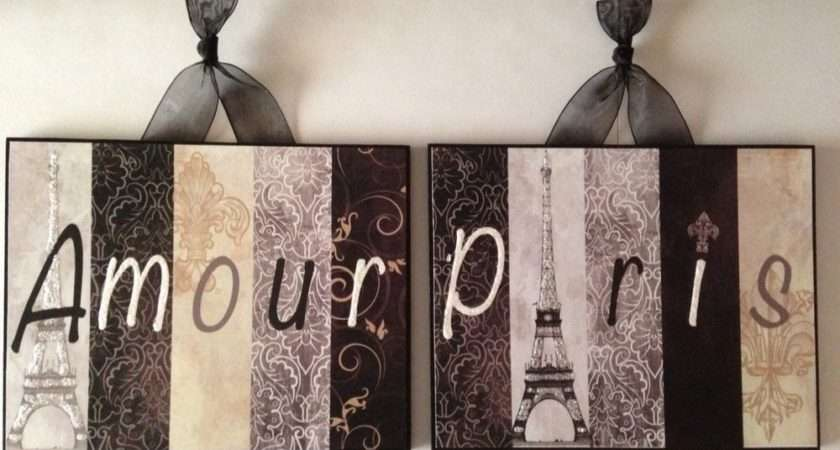 Set Paris Plaques Wall Decor French Country Cottage