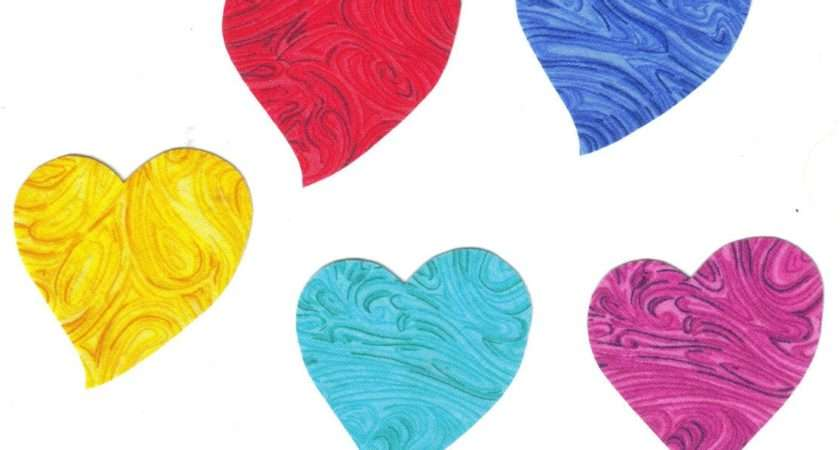 Set Rainbow Swirl Heart Fabric Iron Appliques
