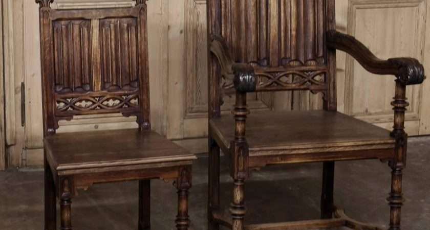 Set Six Century French Gothic Dining Chairs Early