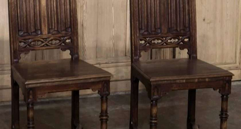 Set Six Century French Gothic Dining Chairs
