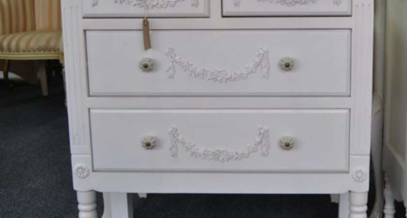 Shabby Chic Antique White Ornate Distressed Drawer Chest