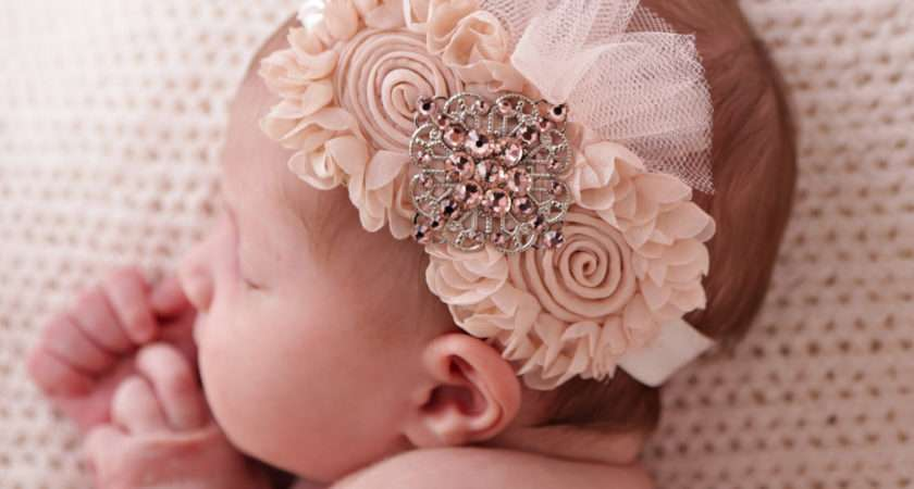 Shabby Chic Baby Fabric Flower Headband Chicrystalsboutique