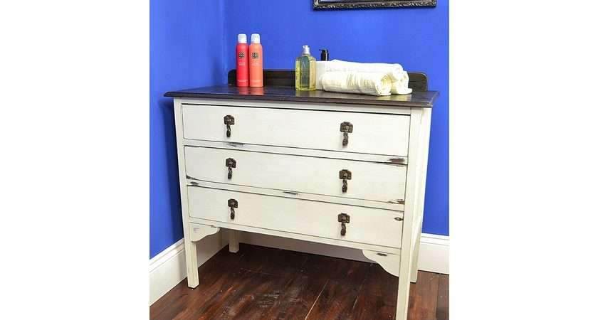 Shabby Chic Chest Drawers Old White