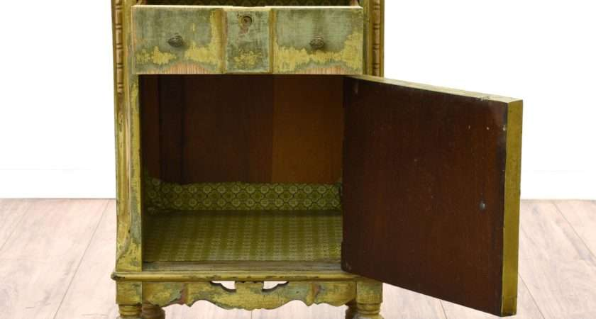 Shabby Chic Distressed Green Nightstand Loveseat Vintage