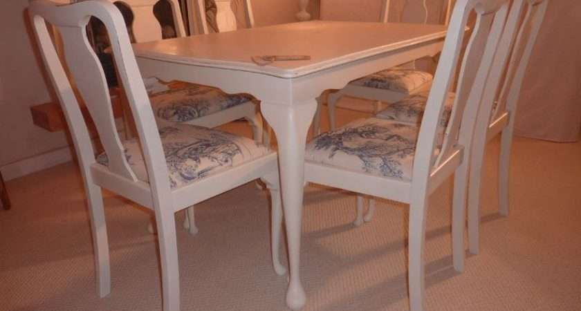 Shabby Chic Extendable Dining Table Chairs Painted