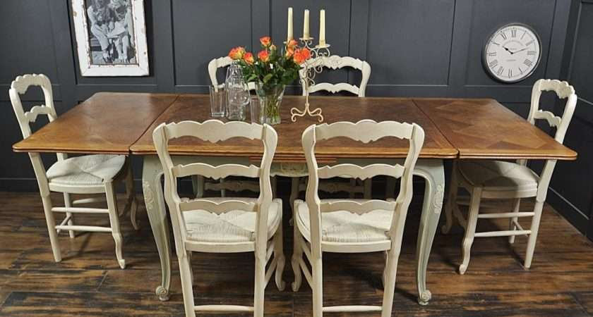 Shabby Chic French Oak Dining Table Chairs