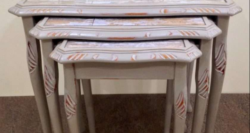 Shabby Chic Nest Tables Annie Sloan French Linen Chalk
