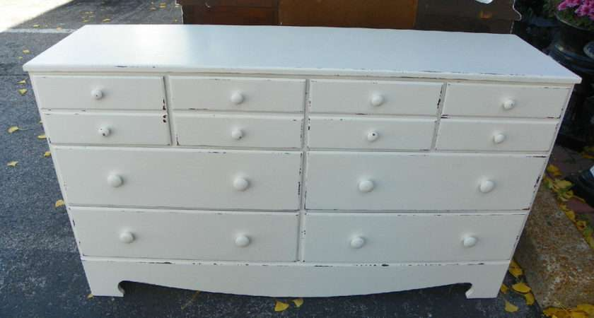 Shabby Chic Painted Off White Wide Chest Drawers Dresser Ebay