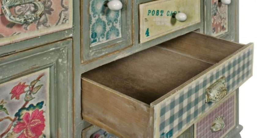 Shabby Chic Patchwork Multi Drawer Chest Mbf