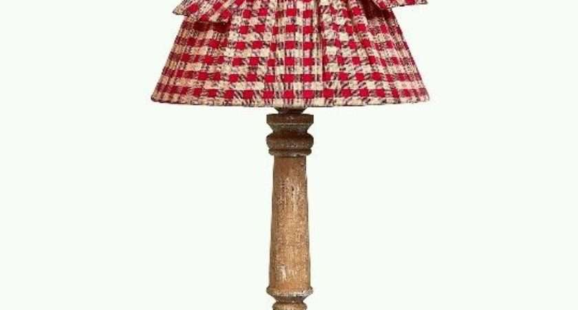 Shabby Chic Vintage Red Gingham Check Wooden Table Lamp