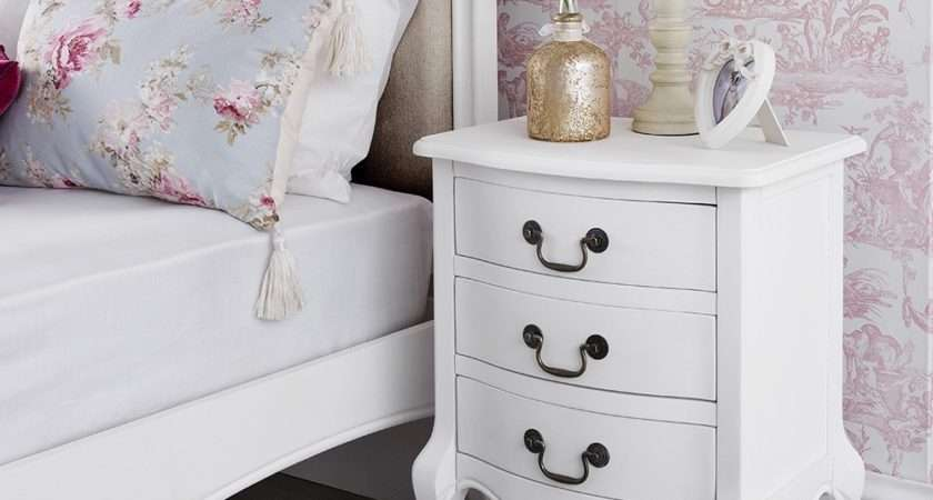 Shabby Chic White Drawer Bedside Table Bedroom