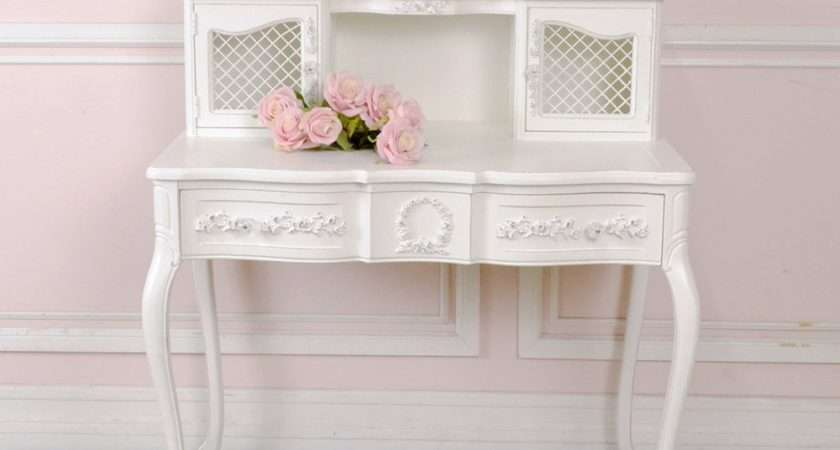 Shabby Cottage Chic White French Vintage Mesh Writing Desk