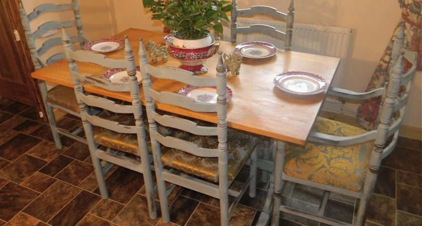 Shabby Country Chic Solid Oak Dining Table Chairs Norfolk