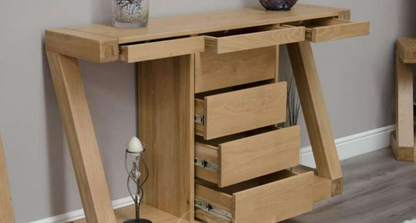 Shape Solid Oak Large Hall Console Table Drawers