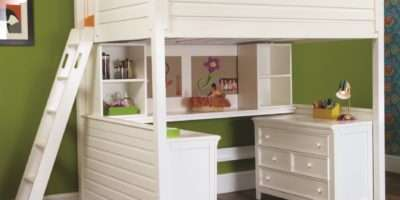 Shaped White Loft Bed Desk Storage Adults