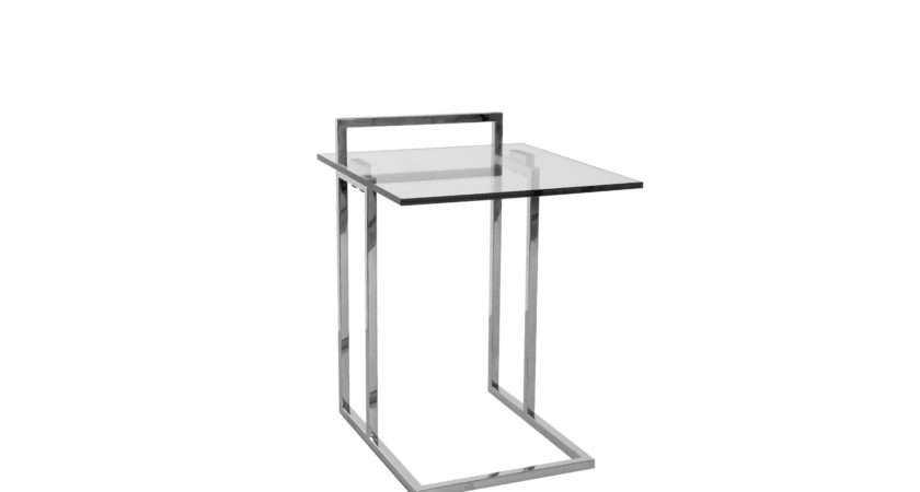 Side Table High Stainless Steel Glass Top Tables