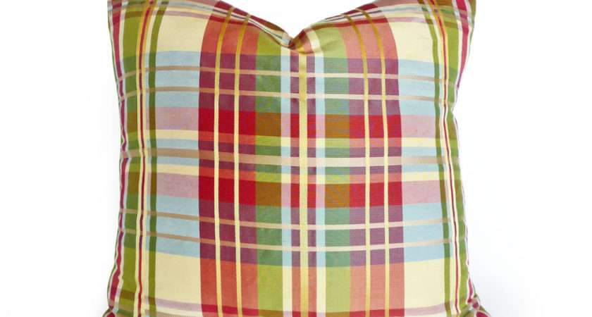 Silk Plaid Pillow Colorful Covers Pillowthrowdecor