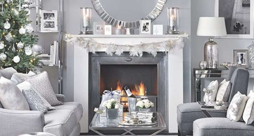 Silver Grey Christmas Living Room Decorating