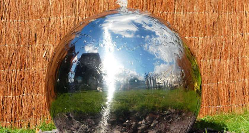 Silver Sphere Water Feature Fountain Cascade Contemporary Stainless