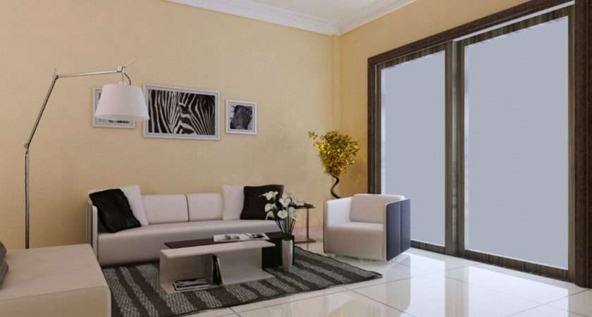 Simple Light Yellow Living Room Design