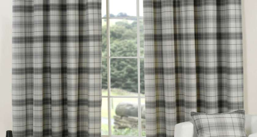 Slate Pewter Grey Tartan Curtains Lined Check Eyelet Ring