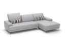 Sleek White Contemporary Sectional Sofa Side Pouches
