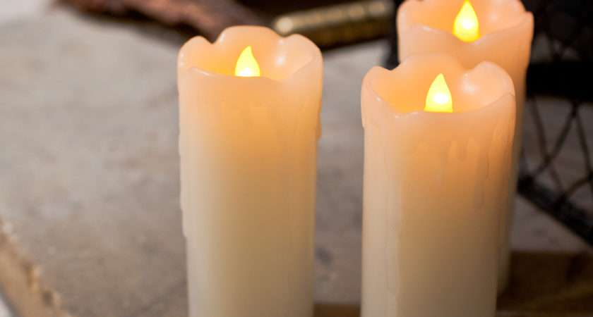 Slim Battery Operated Wax Led Pillar Candles