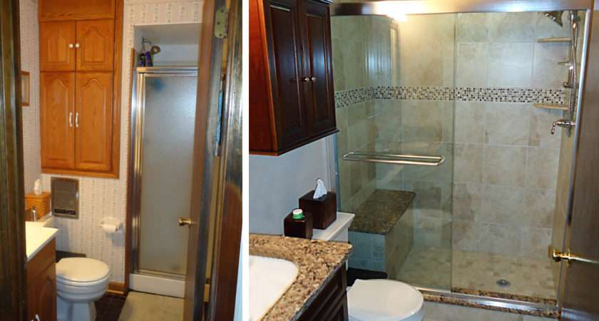 Small Bathroom Remodel Featured All New Tile Floor Shower