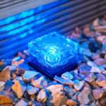Small Blue Led Glass Brick Solar Garden Path Light