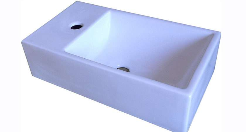 Small Cloakroom Rectangle Wall Mounted Hung Countertop Basin Bowl Sink