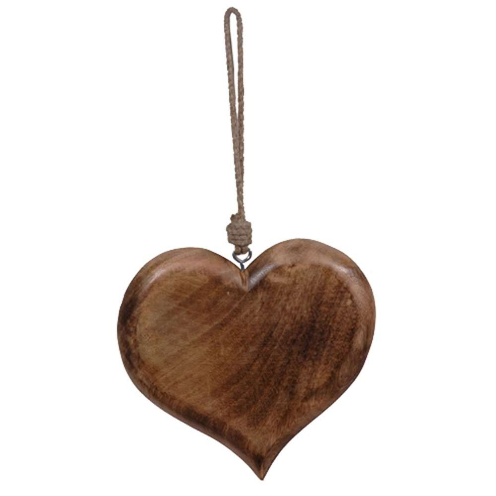 Small Decorative Wooden Hanging Heart Rope Hanger
