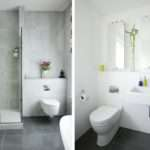 Small White Bathroom Decoration Using Marble