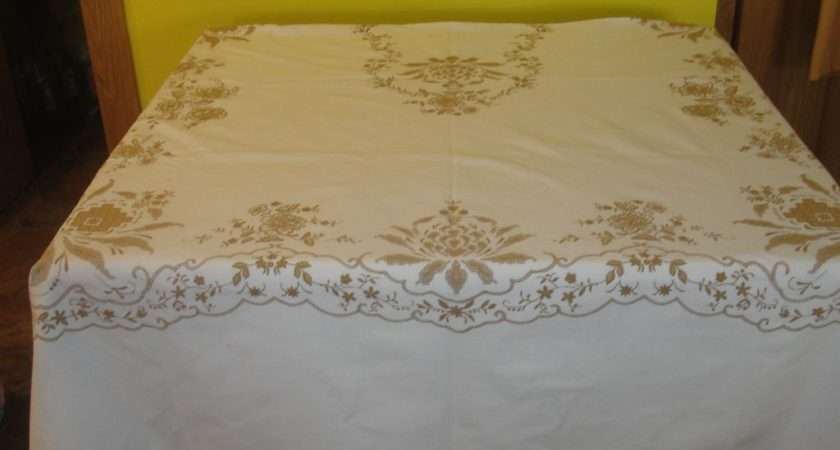 Snowy White Gold Print Christmas Tablecloth